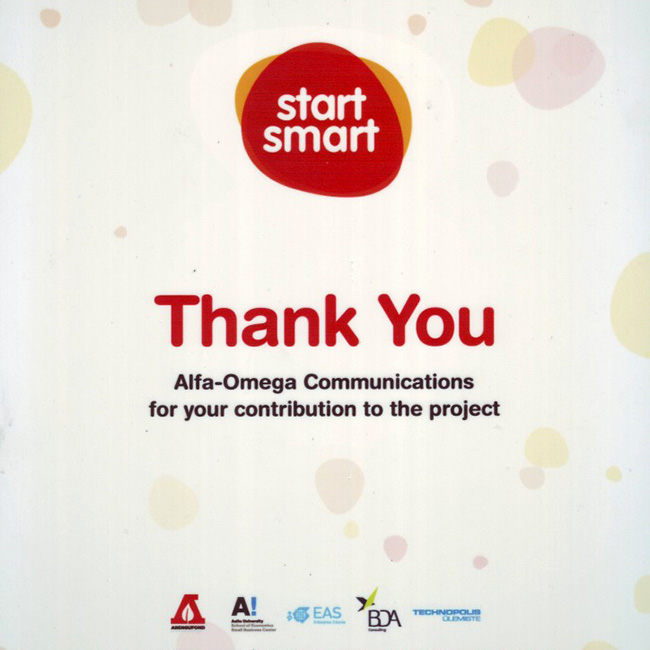 2013 | Letter of appreciation from Smart Start